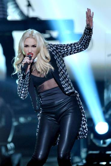   Gwen Stefani of No Doubt performs &acirc;Looking Hot&acirc; at the 40th Annual American Music Awards on Sunday, Nov. 18, 2012, in Los Angeles. (Photo by John Shearer/Invision/AP)  