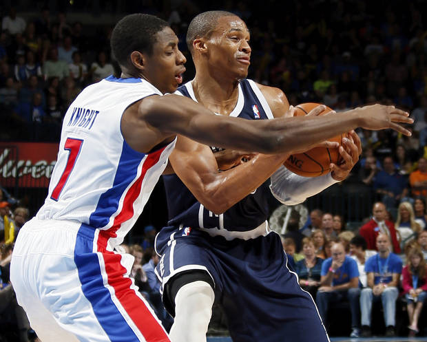 Detroit&#039;s Brandon Knight (7) defends Oklahoma City&#039;s Russell Westbrook (0) during an NBA basketball game between the Detroit Pistons and the Oklahoma City Thunder at the Chesapeake Energy Arena in Oklahoma City, Friday, Nov. 9, 2012. Oklahoma City won, 105-94. Photo by Nate Billings, The Oklahoman