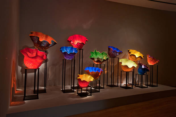 "A series of colorful ""Macchias"" are among the many glass pieces featured in the ongoing exhibition ?Illuminations: Rediscovering the Art of Dale Chihuly"" at the Oklahoma City Museum of Art. Photo provided by the Oklahoma City Museum of Art. <strong></strong>"