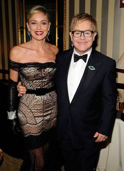Sharon Stone and Elton John