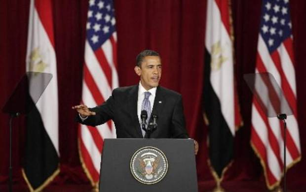 President Barack Obama speaking at Cairo University in Egypt. (AP Photo by Ben Curtis)