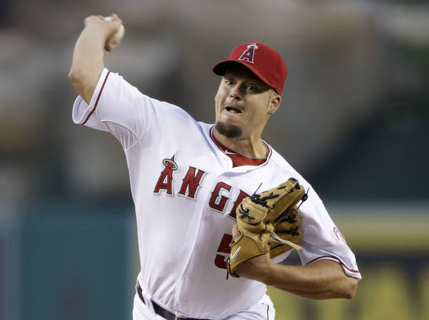 Los Angeles Angels starting pitcher Joe Blanton throws against the Texas Rangers during the first inning of a baseball game in Anaheim, Calif., Monday, April 22, 2013. (AP Photo/Jae C. Hong)