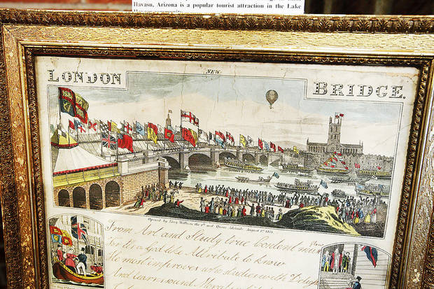 A 1832 colored lithograph of the royal opening of the London Bridge is on display at the Chisholm Trial Museum in Kingfisher. Photo by Paul B. Southerland, The Oklahoman &lt;strong&gt;PAUL B. SOUTHERLAND - PAUL B. SOUTHERLAND&lt;/strong&gt;