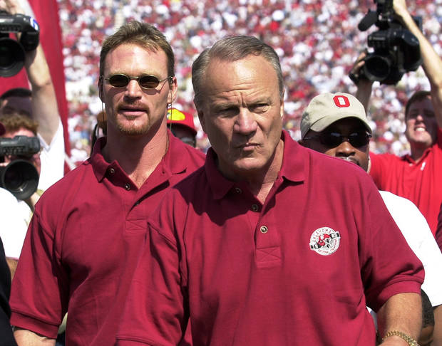"<strong>Happy Birthday wish from Brian Bosworth, former OU linebacker: </strong> <br> <i>""(Happy Birthday to) my favorite Sooner of all time.""</i><br> <br />  <strong>2000: Switzer and The Boz</strong><br>  In this photo from 2000, Switzer and Brian Bosworth leave Owen Field after being introduced with the rest of the 1985 national championship team. PHOTO BY JIM BECKEL, The Oklahoman Archives"