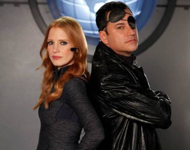 """Oscar-nominated actress Jessica Chastain and Jimmy Kimmel co-star in """"Movie: The Movie 2V."""""""