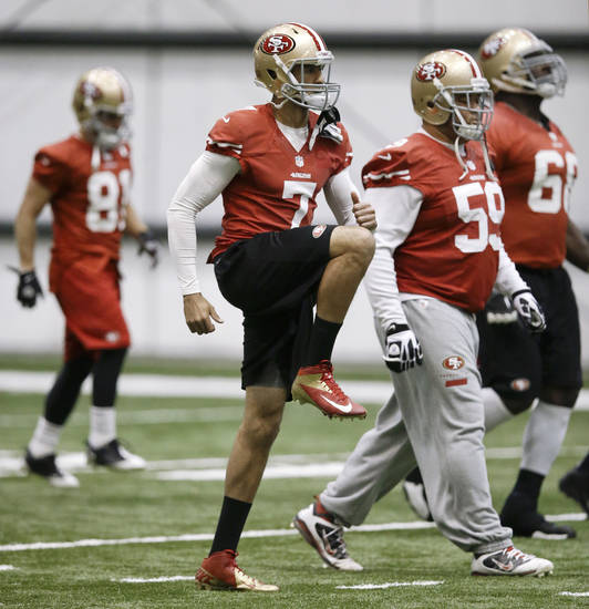 San Francisco 49ers quarterback Colin Kaepernick (7) stretches with teammates including center Jonathan Goodwin (59) during practice on Friday, Feb. 1, 2013, in New Orleans. The 49ers are scheduled to play the Baltimore Ravens in the NFL Super Bowl XLVII football game on Feb. 3. (AP Photo/Mark Humphrey)