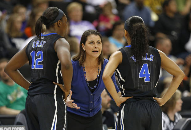 Duke head coach Joanne P. McCallie, center, talks with Chelsea Gray, left, and Chloe Wells, right, during the first half of an NCAA college basketball game against Wake Forest in Winston-Salem, N.C., Sunday, Jan. 13, 2013. (AP Photo/Chuck Burton)