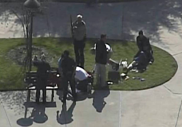 This frame grab provided by KPRC Houston shows the scene at Lone Star College Tuesday, Jan. 22, 2013 as police and emergency personnel work.  A shooting at the Texas community college campus wounded at least two people Tuesday and sent students fleeing for safety officials said.  (AP Photo/Courtesy KPRC TV) ORG XMIT: CER103