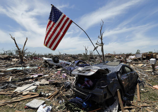 Monday's tornado damage is evident on Wednesday, May 22, 2013 in Moore, Okla. Photo by Steve Sisney, The Oklahoman