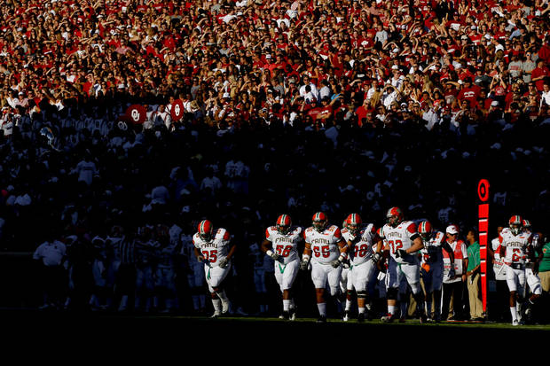 The Florida A&M Rattlers take the field  during the college football game between the University of Oklahoma Sooners (OU) and Florida A&M Rattlers at Gaylord Family�Oklahoma Memorial Stadium in Norman, Okla., Saturday, Sept. 8, 2012. Photo by Bryan Terry, The Oklahoman