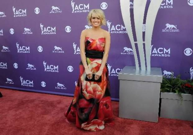 Carrie Underwood arrives at the 48th Annual Academy of Country Music Awards at the MGM Grand Garden Arena in Las Vegas on Sunday, April 7, 2013. (AP)