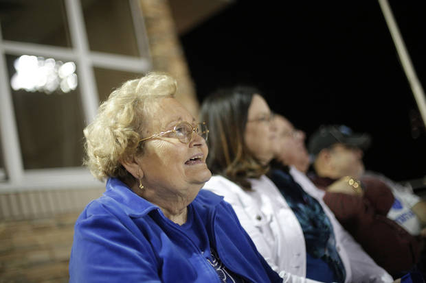 PLAYOFFS: Gay Gower, mother of Deer Creek head coach Grant Gower, watches from the stands during a high school football game between Deer Creek and Ardmore at Deer Creek Stadium in Edmond, Okla., Friday, Nov. 9, 2012.  Photo by Garett Fisbeck, The Oklahoman