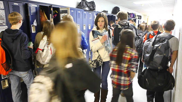 Mulhall-Orlando students change classes Friday. The district received all A�s under the state Education Department�s A-to-F school  evaluation system. Photo by David McDaniel, The Oklahoman