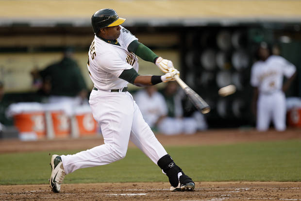 Oakland Athletics' Yoenis Cespedes connects for a two-run home run off Cleveland Indians' Corey Kluber in the third inning of a baseball game Saturday, Aug. 18, 2012, in Oakland, Calif. (AP Photo/Ben Margot)