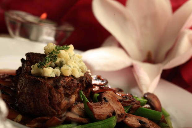 A juicy beefsteak and sauteed mushrooms go together perfectly, especially when you add a great sauce to the mix. Make that beefsteak a filet mignon, add a yummy zip sauce, top it off with a tangy blue cheese and you�ªve got a combo that's irresistible. (Kathleen Galligan/Detroit Free Press/MCT)