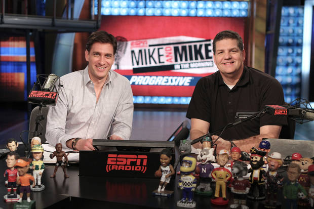 "Mike Golic, right, co-hosts ""Mike and Mike in the Morning"" with Mike Greenberg <strong>Joe Faraoni - ESPN photo</strong>"