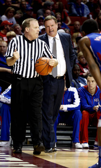 Kansas head coach Bill Self talks to a referee as the University of Oklahoma Sooners (OU) play the Kansas Jayhawks (KU) in NCAA, men's college basketball at The Lloyd Noble Center on Saturday, Feb. 9, 2013 in Norman, Okla. Photo by Steve Sisney, The Oklahoman