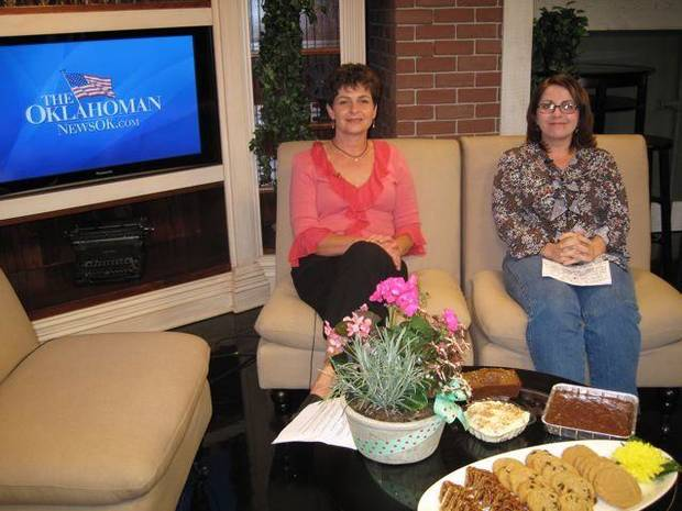 Sheli Adler and Debbie Davis were on a NewsOk webcast and brought   cookies, chocolate sheet cake, pumpkin bread and banana pudding to   show the viewers. (Photo by Helen Ford Wallace).