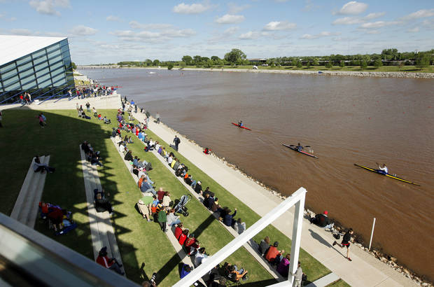 A view from the Chesapeake Finish Line Tower during the USA Canoe/Kayak  U.S. Olympic Team Trials on the Oklahoma River in Oklahoma City, Friday, April 20, 2012. Photo by Nate Billings, The Oklahoman