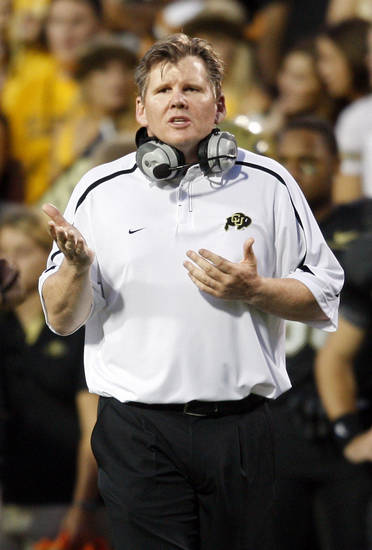 Colorado coach Dan Hawkins will try to right the ship tonight at Toledo. AP photo