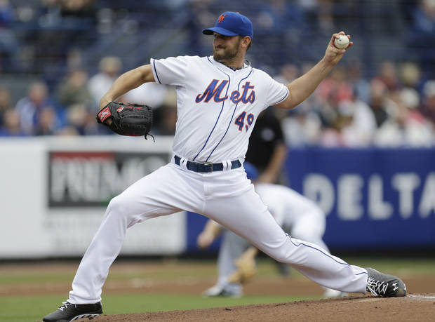 New York Mets starting pitcher Jonathon Niese throws a pitch against the Detroit Tigers during the first inning of an exhibition spring training baseball game, Friday, March 1, 2013, in Port St. Lucie, Fla.  (AP Photo/Julio Cortez)