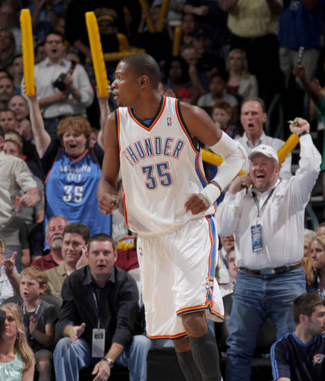 The crowd reacts after a Kevin Durant basket during the NBA basketball game between the Oklahoma City Thunder and the Memphis Grizzlies at the Ford Center in Oklahoma City on Wednesday, April 14, 2010. 