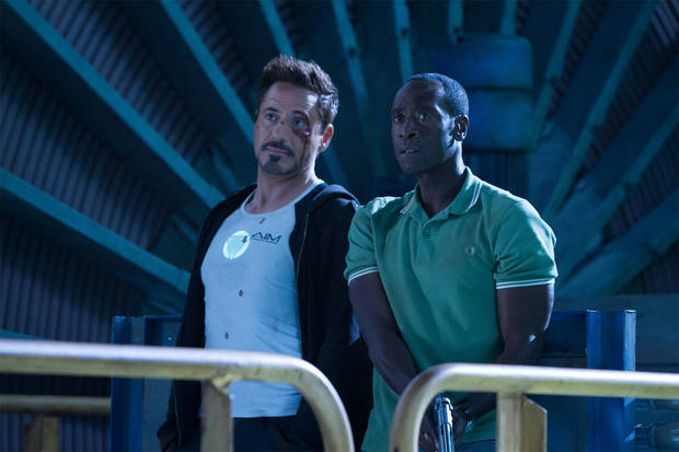 "Robert Downey Jr. and Don Cheadle in ""Iron Man 3.""  Marvel/Disney. <strong></strong>"