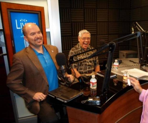 "From left, J.D. Strong and Neal McCaleb are pictured in a light-hearted moment before discussion began on the July edition of ""The Living Room with Gerry Bonds."" - Provided Photo"