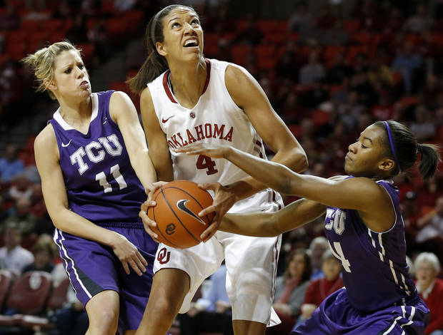Oklahoma&#039;s Nicole Griffin (4) looks to the basket from between TCU&#039;s Kamy Cole (11) and Zahna Medley (14) during a women&#039;s college basketball game between the University of Oklahoma and TCU at the Llyod Noble Center in Norman, Okla., Wednesday, Jan. 30, 2013. Photo by Bryan Terry, The Oklahoman
