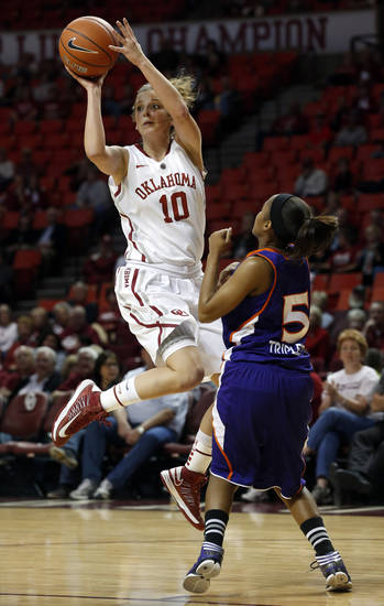 Oklahoma Sooners' Morgan Hook (10) passes the ball guarded by Northwestern State Lady Demons' Tashana Triplett (5) as the University of Oklahoma (OU) Sooner women's basketball team plays the Northwestern State Lady Demons at the Lloyd Noble Center on Thursday, Nov. 29, 2012  in Norman, Okla. Photo by Steve Sisney, The Oklahoman