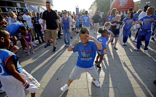 Joey Talaoc, 8, of Yukon dances before Game 2 of the NBA Finals between the Oklahoma City Thunder and the Miami Heat at Chesapeake Energy Arena in Oklahoma City, Thursday, June 14, 2012. Photo by Bryan Terry, The Oklahoman