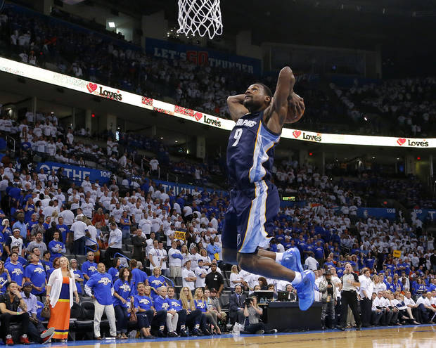 Memphis' Tony Allen (9) dunks the ball in the final seconds of Game 2 in the second round of the NBA playoffs between the Oklahoma City Thunder and the Memphis Grizzlies at Chesapeake Energy Arena in Oklahoma City, Tuesday, May 7, 2013. Oklahoma  City lost 99-93. Photo by Bryan Terry, The Oklahoman