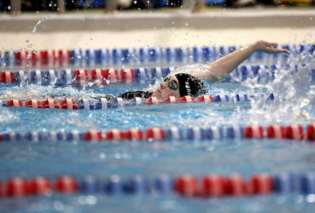 Norman North's Shelby Sarantakos swims in the the Girl's 200-yard IM during the state championship swim meet at  Oklahoma City Community College, Friday, Feb. 17, 2012. Photo by Sarah Phipps, The Oklahoman