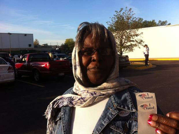 "Emma Berryman, 72, of Oklahoma City, got to the Oklahoma County Election Board before 8 a.m. to vote early.  She said, ""I decided to come over and vote and get it out of the way. I think we have a lot issues to consider."" Photo by Robert Medley"
