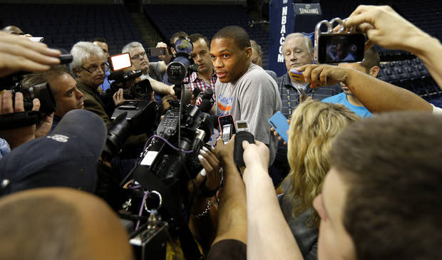 Oklahoma City's Russell Westbrook answers a question after practice at FedExForum in Memphis, Tenn., Friday, April 25, 2014. The Oklahoma City Thunder will play the Memphis Grizzlies in Game 4 during the first round of NBA playoffs on Saturday, April 26, 2014. Photo by Bryan Terry, The Oklahoman