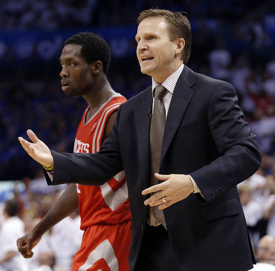 Coach Scott Brooks argues a call with the officials during Game 2 in the first round of the NBA playoffs between the Oklahoma City Thunder and the Houston Rockets at Chesapeake Energy Arena in Oklahoma City, Wednesday, April 24, 2013. Photo by Chris Landsberger, The Oklahoman