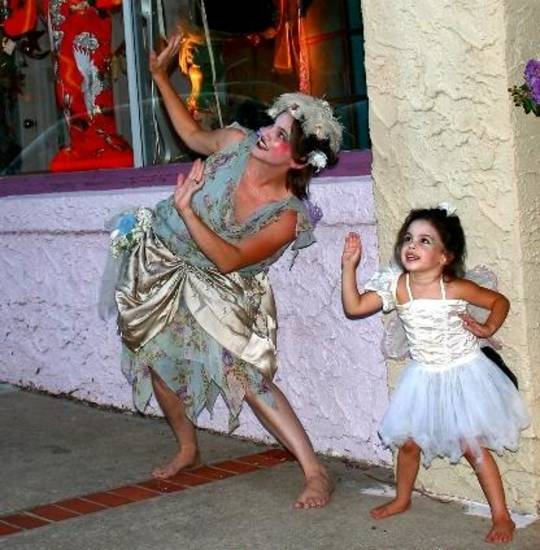 KC Ortega and daughter Cayenne Ortega, of Theatre Upon a StarDanceSwan, prepare for their dance at the 2012 Fairy Ball on Paseo. Photo provided by Skip Largent
