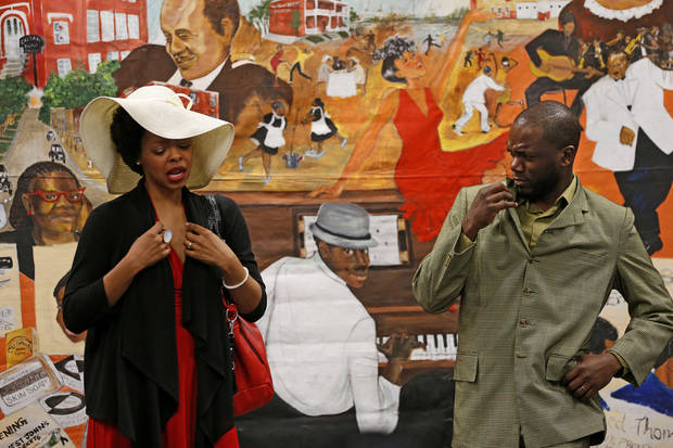 Kizzie Ledbetter and Adam Ledbetter perform in �Swingin� and Singin� in Deep Deuce� with Rhythmically Speaking at Belle Isle Library. Photo by Bryan Terry, The Oklahoman