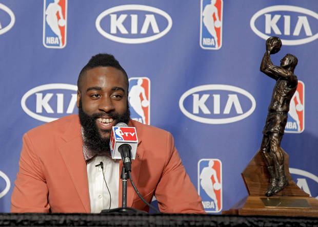 NBA BASKETBALL: James Harden laughs as he speaks during the presentation of the 2012 NBA Sixth Man of the Year Award to the Oklahoma City Thunder's James Harden on Thursday,  May 10, 2012, in Oklahoma City, Oklahoma. Photo by Chris Landsberger, The Oklahoman