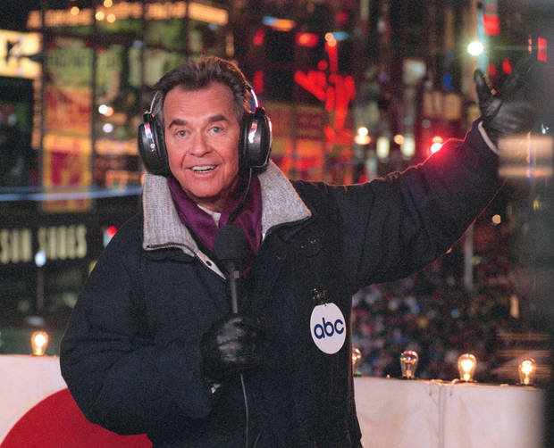 "FILE - In this undated file photo released by ABC, Dick Clark hosts the New Year's eve special from New York's Times Square. Clark, the television host who helped bring rock `n' roll into the mainstream on ""American Bandstand,"" has died. He was 82. Spokesman Paul Shefrin says Clark died but did not provide further details. Clark had continued performing even after he suffered a stroke in 2004 that affected his ability to speak and walk.  (AP Photo/ABC, Donna Svennevik, File) ORG XMIT: NYDC202"