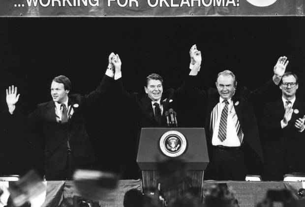 President Ronald Reagan is joined by (L-R) Oklahoma U.S. Senator Don Nickles, Henry Bellmon and Burns Hargis during a Republican fete for Nickles in Oklahoma City in October 1986. Staff photo by Jim Beckel taken 10/24/86.