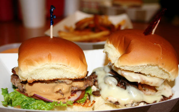 The Elvis and French Onion sliders at S & B Burger Joint.