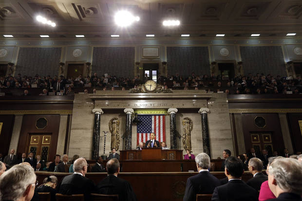 President Barack Obama gives his State of the Union address during a joint session of Congress on Capitol Hill in Washington, Tuesday Feb. 12, 2013. (AP Photo/Charles Dharapak, Pool)
