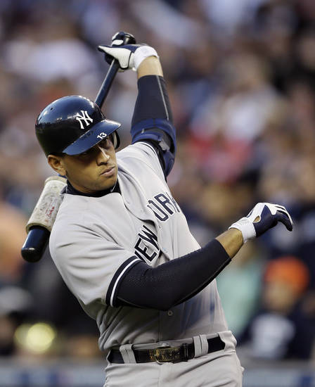 "FILE - In this Oct. 18, 2012 file photo, New York Yankees' Alex Rodriguez prepares to hit in the sixth inning during Game 4 of the American League championship series against the Detroit Tigers in Detroit. Major League Baseball says it is ""extremely disappointed"" about a new report that says records from an anti-aging clinic in the Miami area link Rodriguez and other players to the purchase of performance-enhancing drugs. (AP Photo/Matt Slocum, File)"