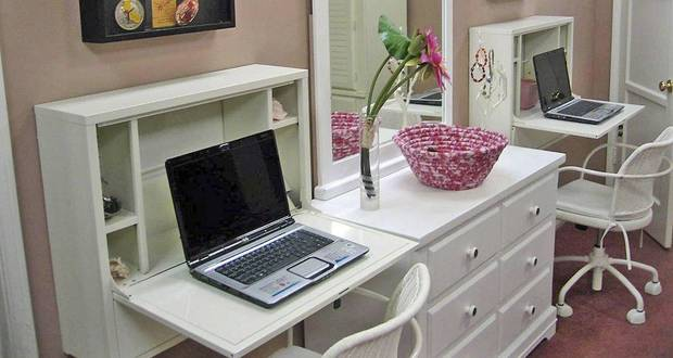 When space is tight. Flip down wall desks are great space savers in rooms where kids need a study area. Here desks help keep students laptops and school supplies organized and handy. Available at IKEA. Photo courtesy of Mark Brunetz. <strong></strong>