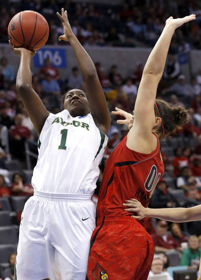 Baylor's Kimetria Hayden (1)  shoots as Louisville's Sara Hammond (00)  defends during college basketball game between Baylor University and the Louisville at the Oklahoma City Regional for the NCAA women's college basketball tournament at Chesapeake Energy Arena in Oklahoma City, Sunday, March 31, 2013. Photo by Sarah Phipps, The Oklahoman