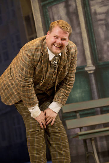 "In this theater image released by Boneau/Bryan-Brown, James Corden is shown in a scene from ""One Man, Two Guvnors,"" performing at the Music Box Theatre in New York. Corden was nominated for a Tony Award for best actor in a play, Tuesday, May 1, 2012, for his role in ""One Man, Two Guvnors."" The Tony Awards will be broadcast live from the Beacon Theatre on CBS, Sunday, June 10.(AP Photo/Boneau/Bryan-Brown, Joan Marcus)"