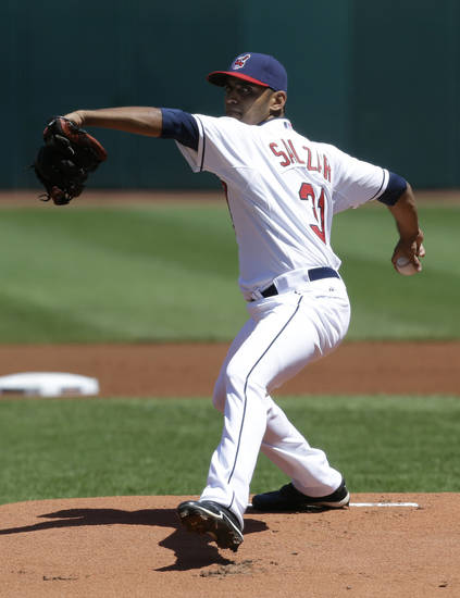 Cleveland Indians starting pitcher Danny Salazar delivers a pitch in the first inning of a baseball game against the Toronto Blue Jays, Thursday, July 11, 2013, in Cleveland. (AP Photo/Tony Dejak)
