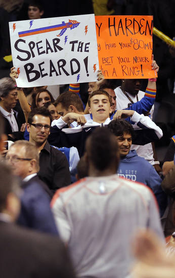 Thunder fans taunt Houston's James Harden (13) as he leaves the court during the NBA basketball game between the Houston Rockets and the Oklahoma City Thunder at the Chesapeake Energy Arena on Wednesday, Nov. 28, 2012, in Oklahoma City, Okla.   Photo by Chris Landsberger, The Oklahoman