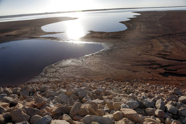 Low water levels at Lake Hefner could force the cancellation of boating season. Photo by Sarah Phipps, The Oklahoman